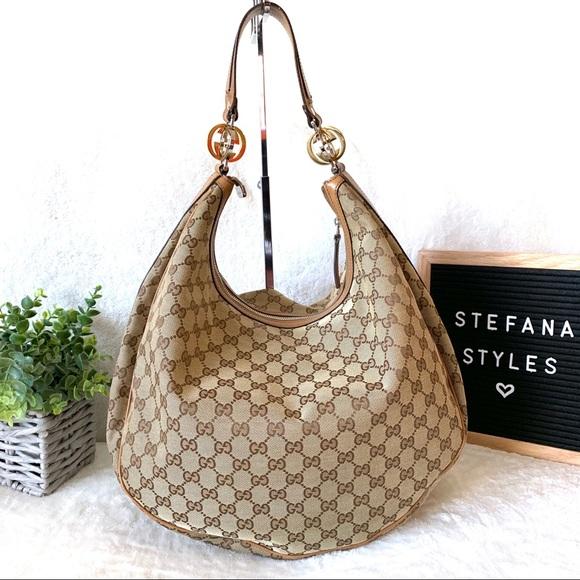 Gucci Handbags - Gucci Twins Monogram Canvas Hobo Shoulder Bag